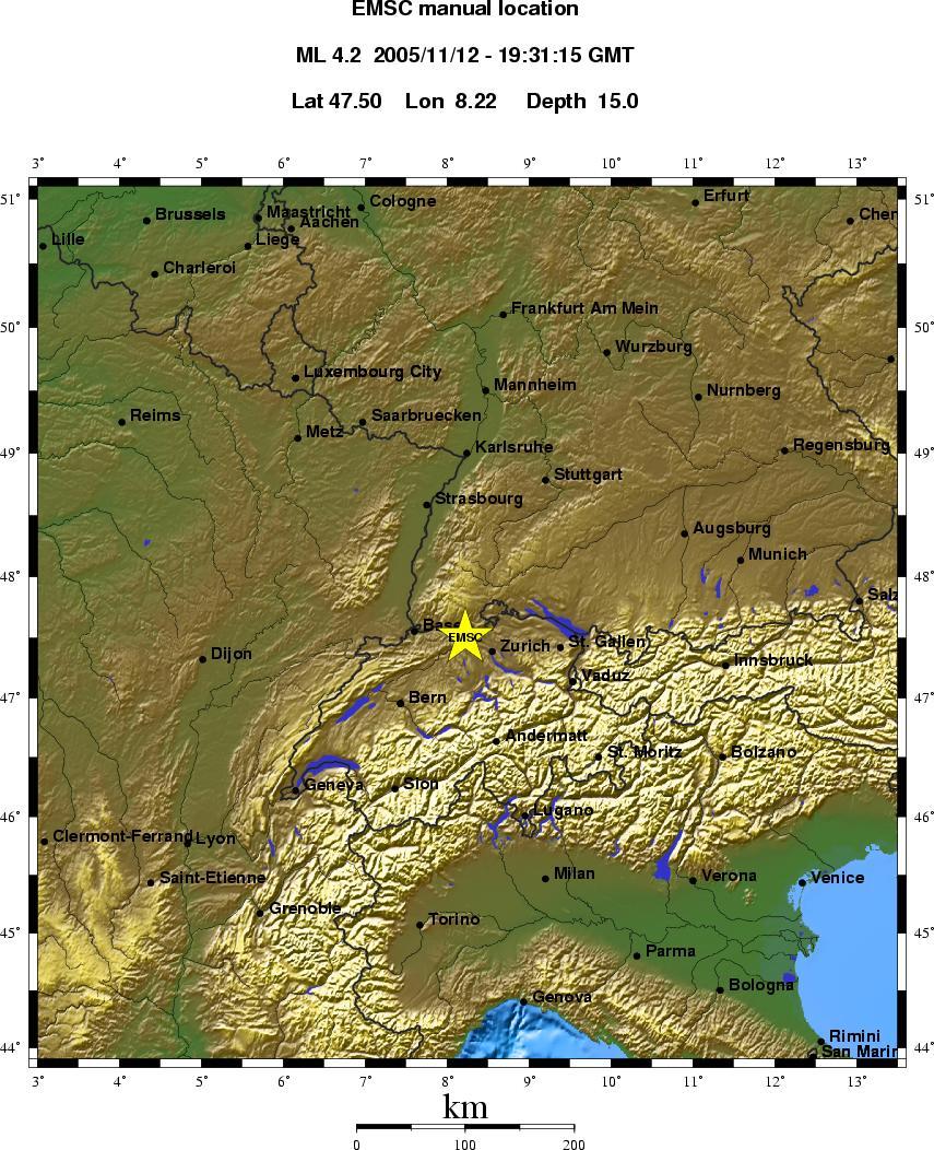 Erdbeben in der Schweiz und Baden
