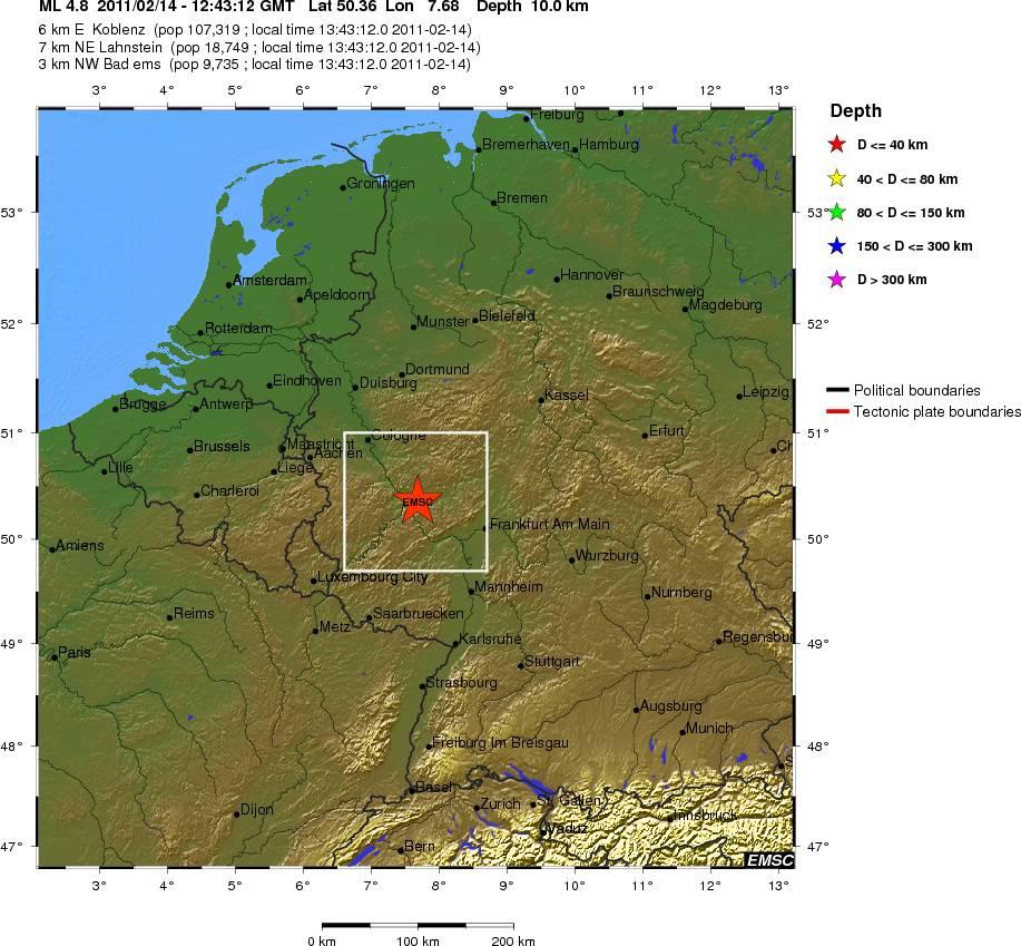Leichtes Erdbeben bei Koblenz