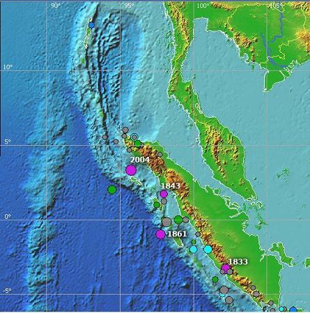 Frühere Erdbeben und Tsunamis